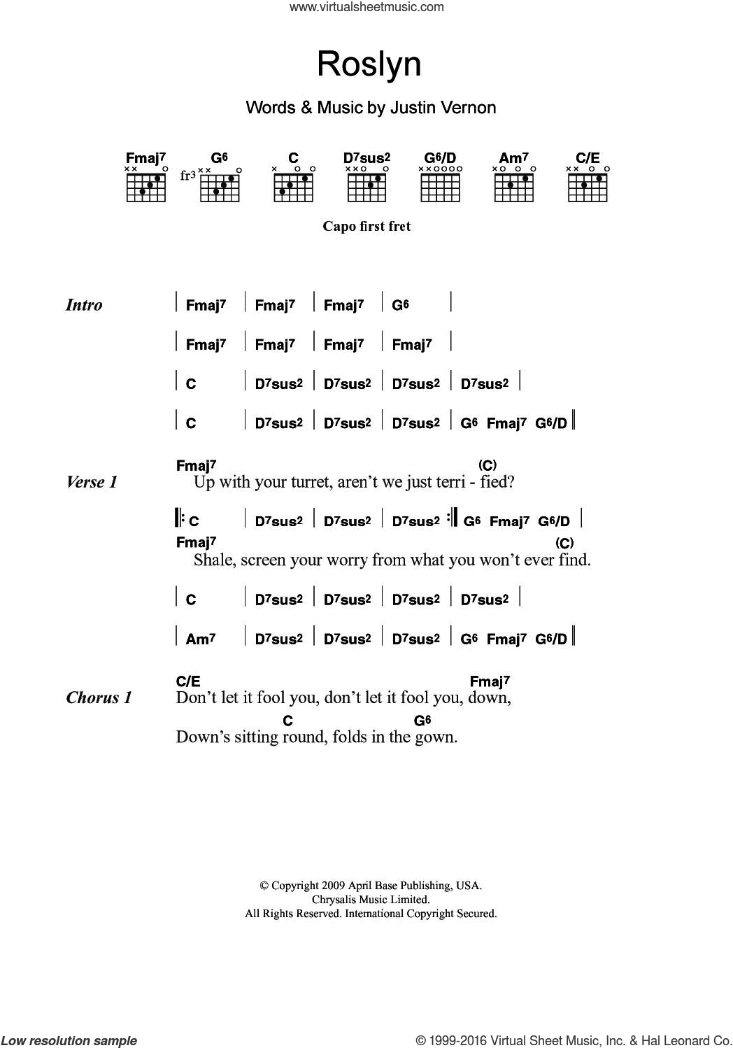 Iver Roslyn Sheet Music For Guitar Chords Pdf