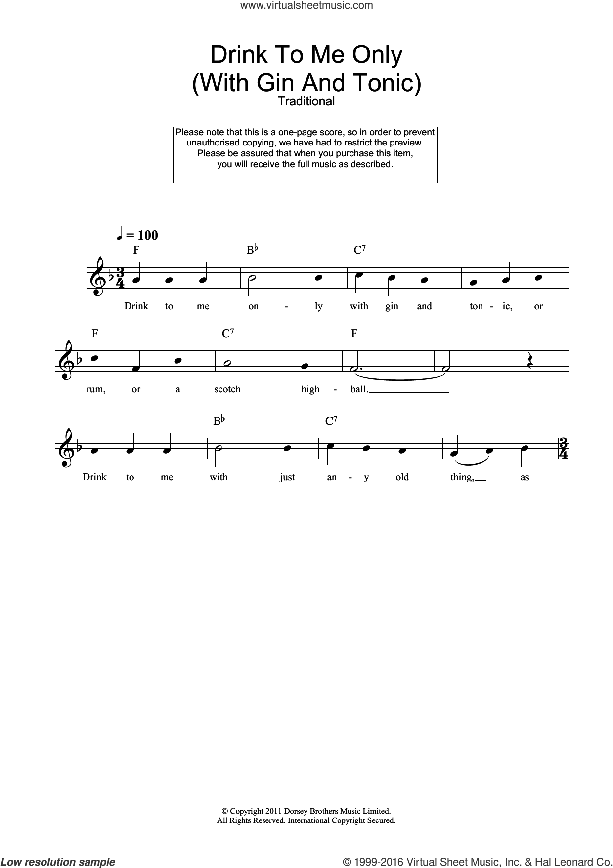 Drink To Me Only (With Gin And Tonic) sheet music for voice and other instruments (fake book), intermediate