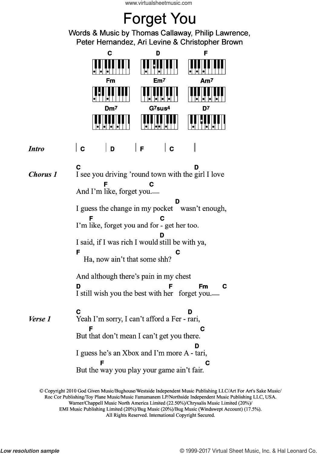 Forget You sheet music for piano solo (chords, lyrics, melody) by Cee Lo Green, Ari Levine, Chris Brown, Peter Hernandez, Philip Lawrence and Thomas Callaway, intermediate piano (chords, lyrics, melody)