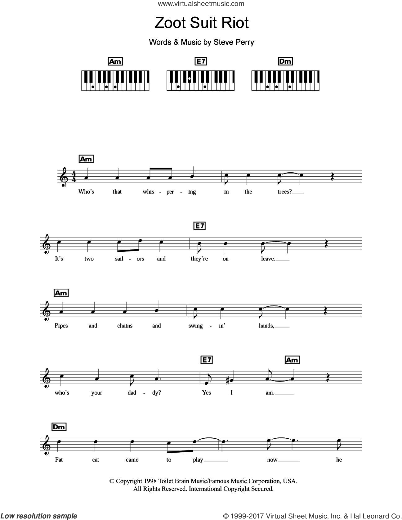 Zoot Suit Riot sheet music for piano solo (chords, lyrics, melody) by Cherry Poppin' Daddies and Steve Perry, intermediate piano (chords, lyrics, melody)