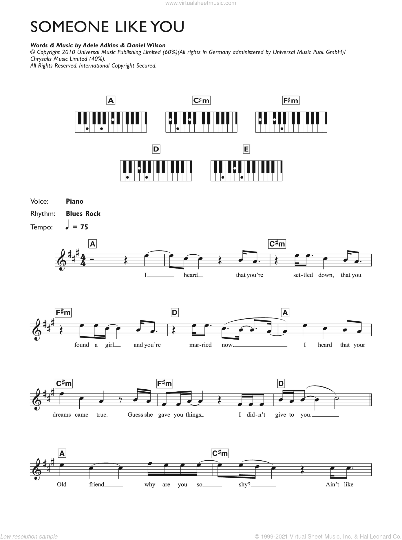 Someone Like You sheet music for piano solo (chords, lyrics, melody) by Dan Wilson and Adele. Score Image Preview.