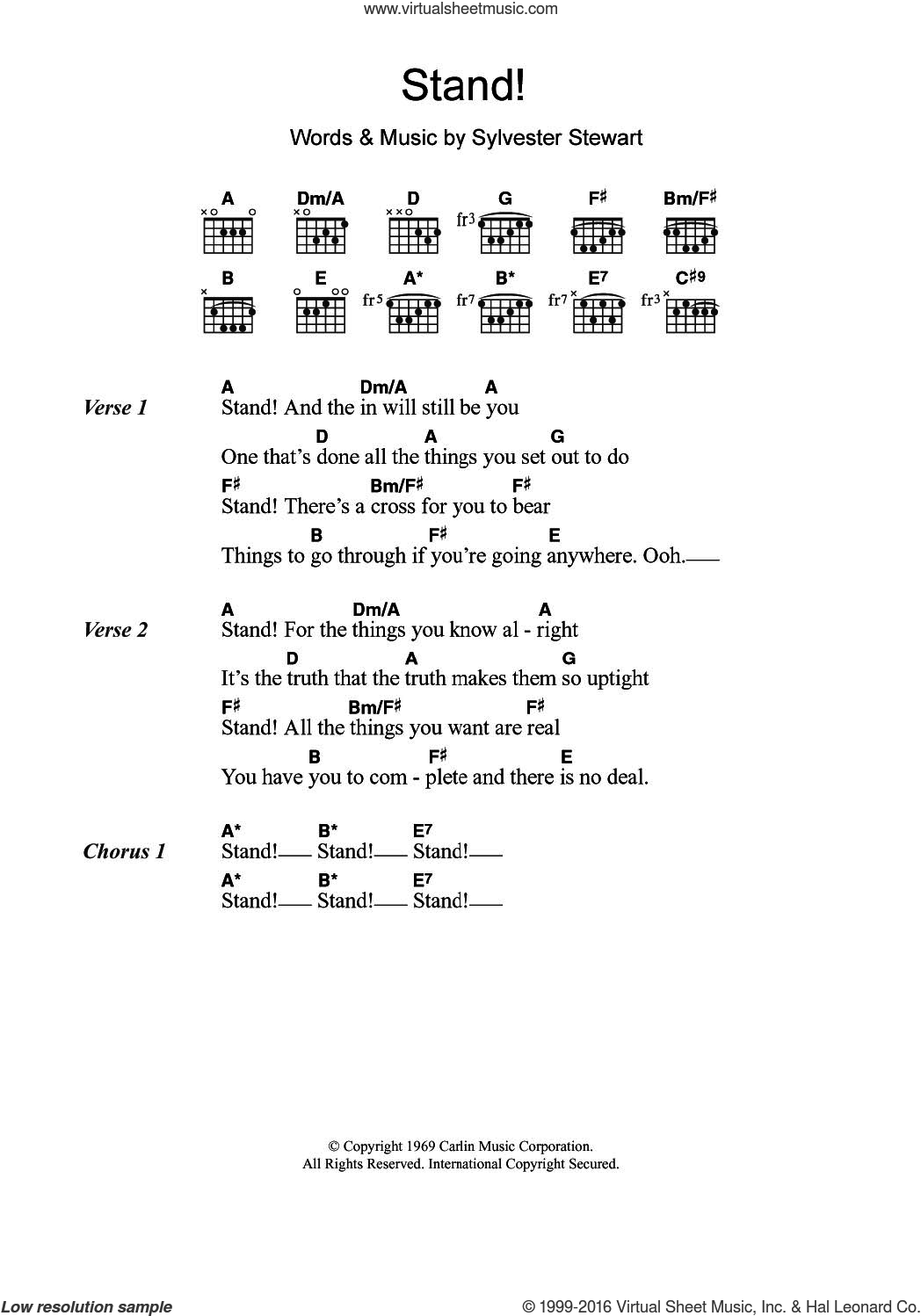 Stand! sheet music for guitar (chords) by Sly & The Family Stone and Sylvester Stewart, intermediate skill level