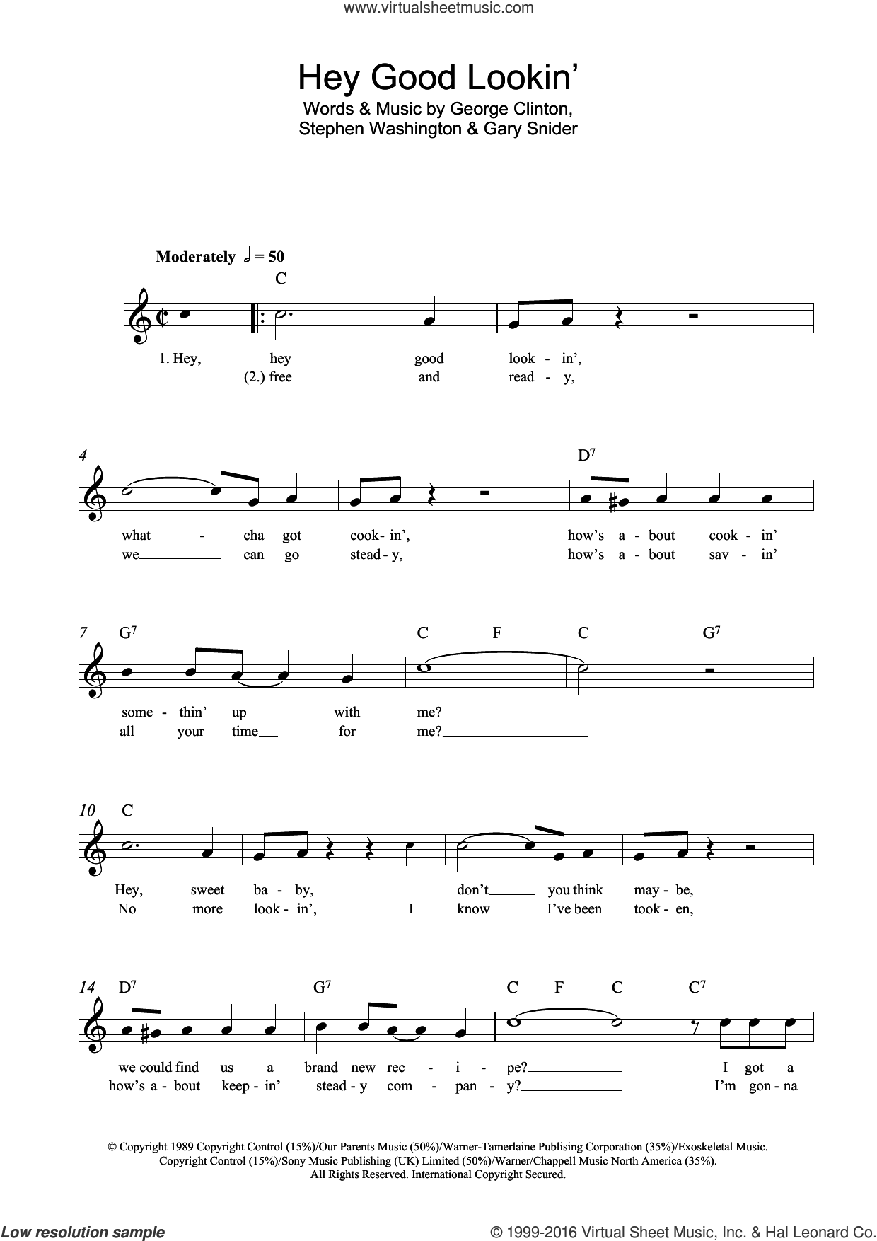 Hey Good Lookin' sheet music for voice and other instruments (fake book) by Hank Williams, Gary Snider, George Clinton and Stephen Washington, intermediate skill level