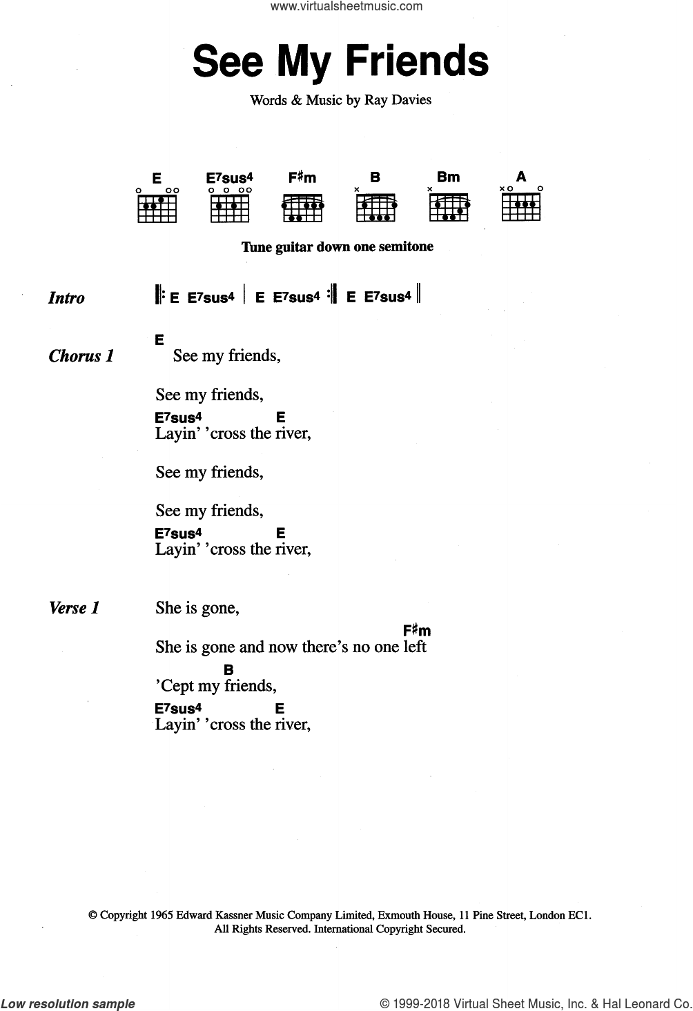 See My Friends sheet music for guitar (chords) by The Kinks and Ray Davies, intermediate guitar (chords). Score Image Preview.