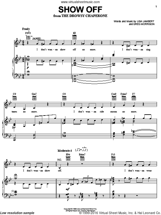 Show Off (COMPLETE) sheet music for voice, piano or guitar by Greg Morrison