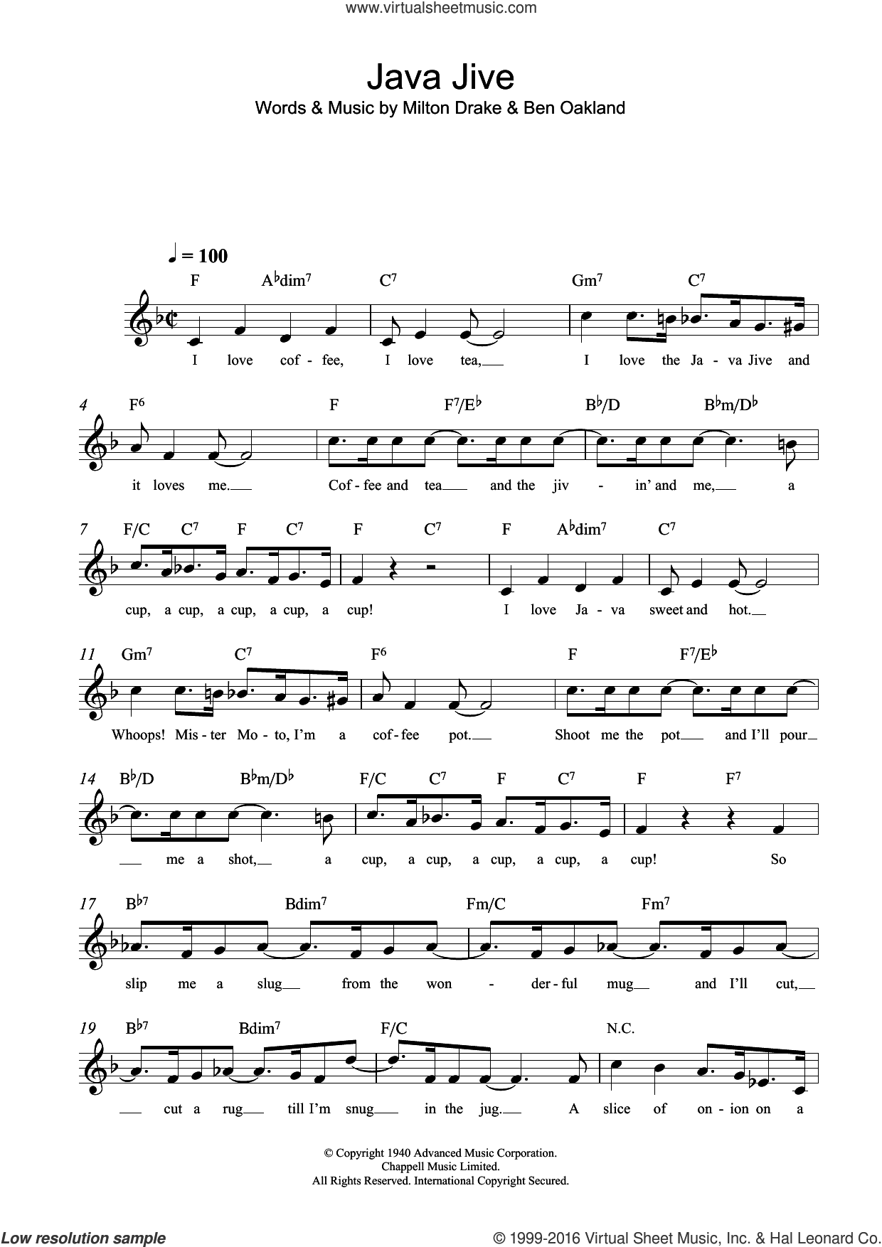 Java Jive sheet music for voice and other instruments (fake book) by Milton Drake and Ben Oakland, intermediate voice. Score Image Preview.