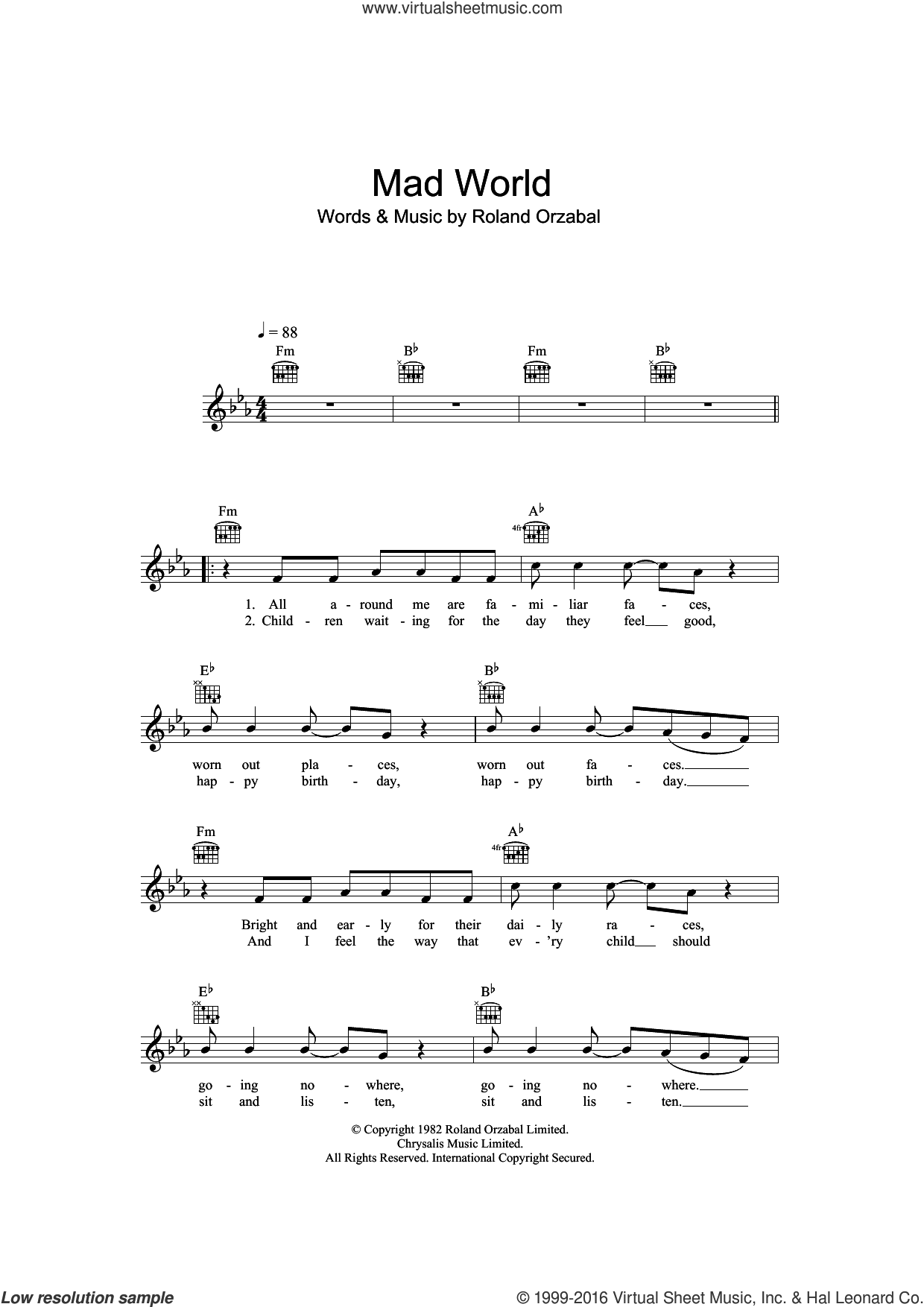 Mad World (from Donnie Darko) sheet music for voice and other instruments (fake book) by Roland Orzabal. Score Image Preview.
