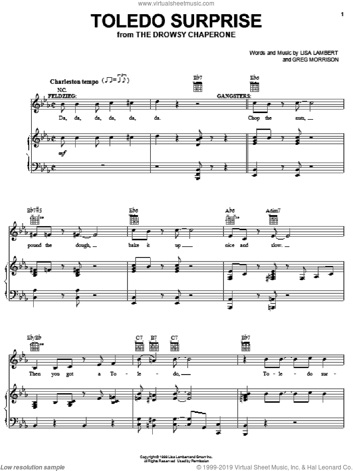Toledo Surprise sheet music for voice, piano or guitar by Lisa Lambert, Drowsy Chaperone (Musical) and Greg Morrison, intermediate. Score Image Preview.