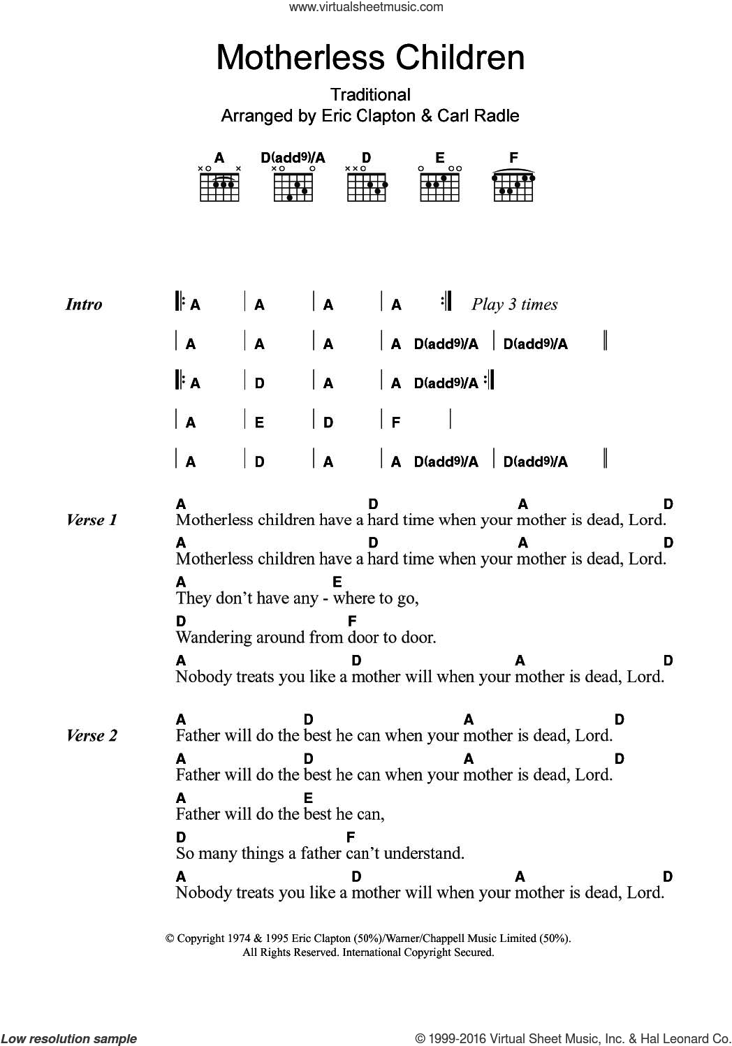 Motherless Children sheet music for guitar (chords) by Eric Clapton and Miscellaneous, intermediate guitar (chords). Score Image Preview.