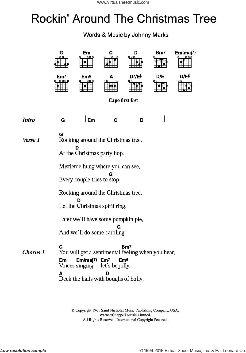 Rockin' Around The Christmas Tree sheet music for guitar (chords) by Johnny Marks and Brenda Lee. Score Image Preview.