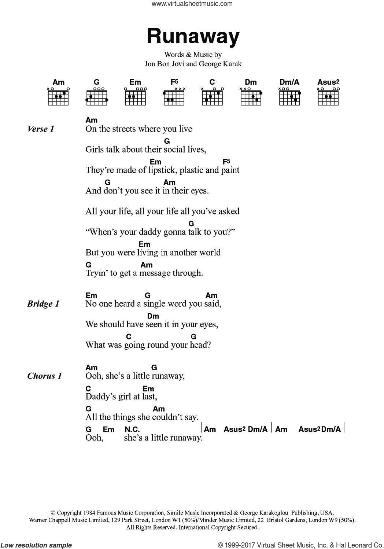Jovi Runaway Sheet Music For Guitar Chords Pdf