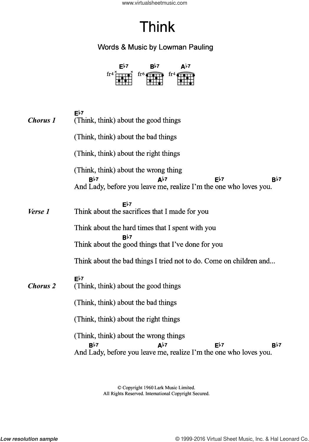 Brown Think Sheet Music For Guitar Chords Pdf