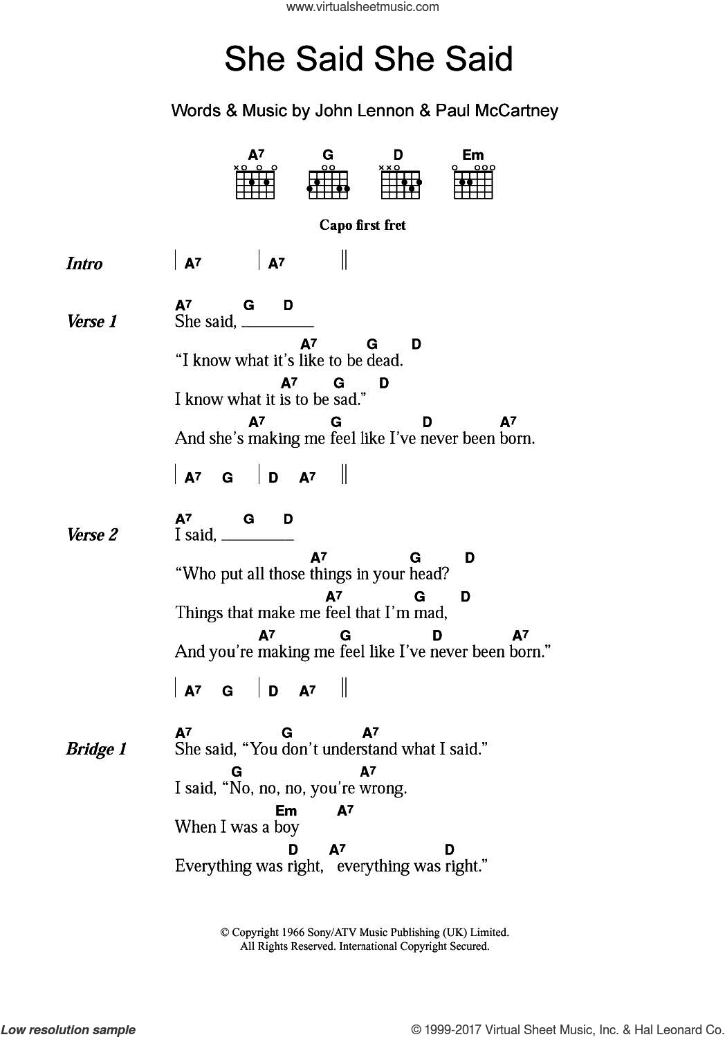 Beatles She Said She Said Sheet Music For Guitar Chords Pdf
