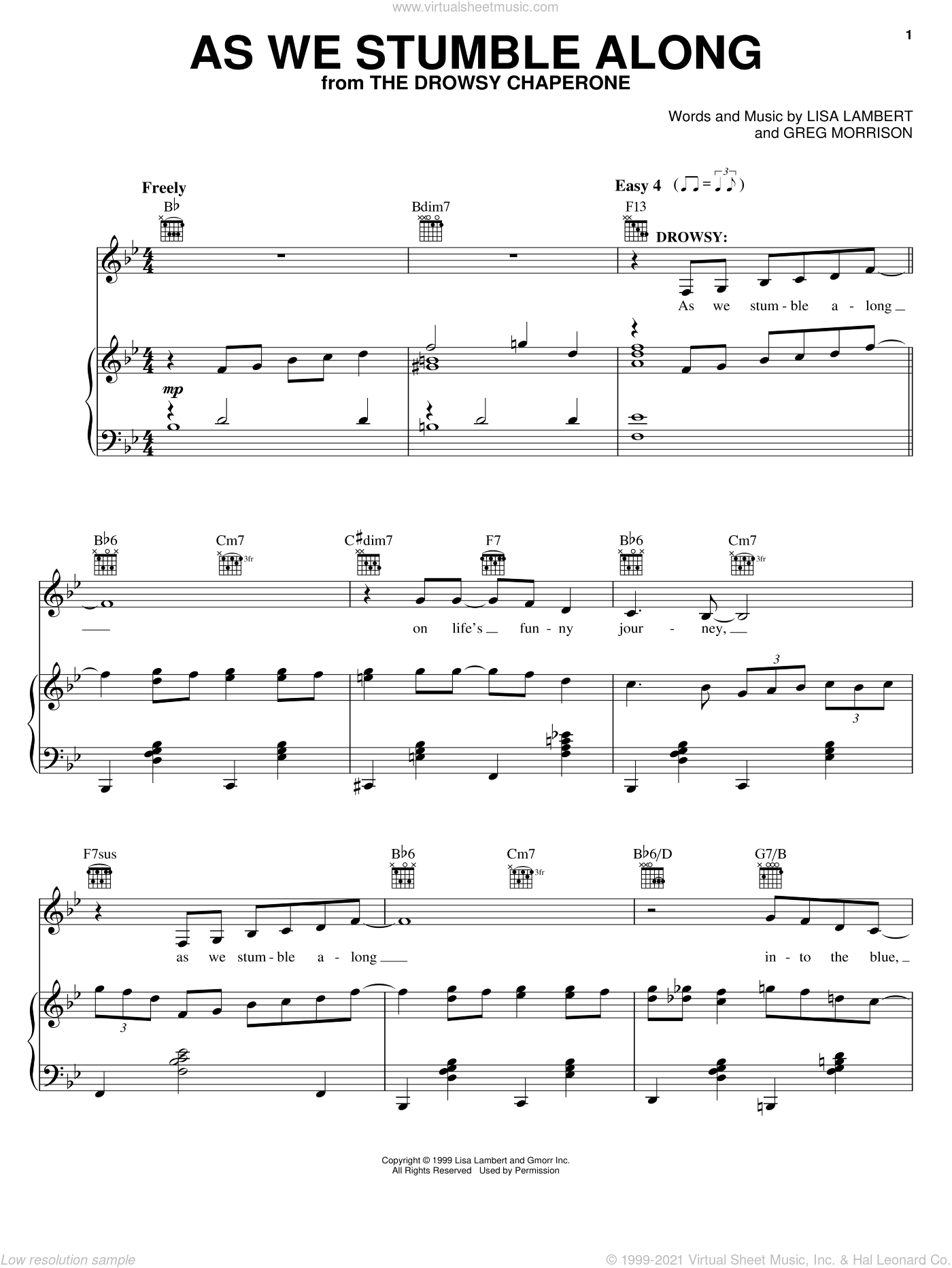 As We Stumble Along sheet music for voice, piano or guitar by Lisa Lambert, Drowsy Chaperone (Musical) and Greg Morrison, intermediate skill level