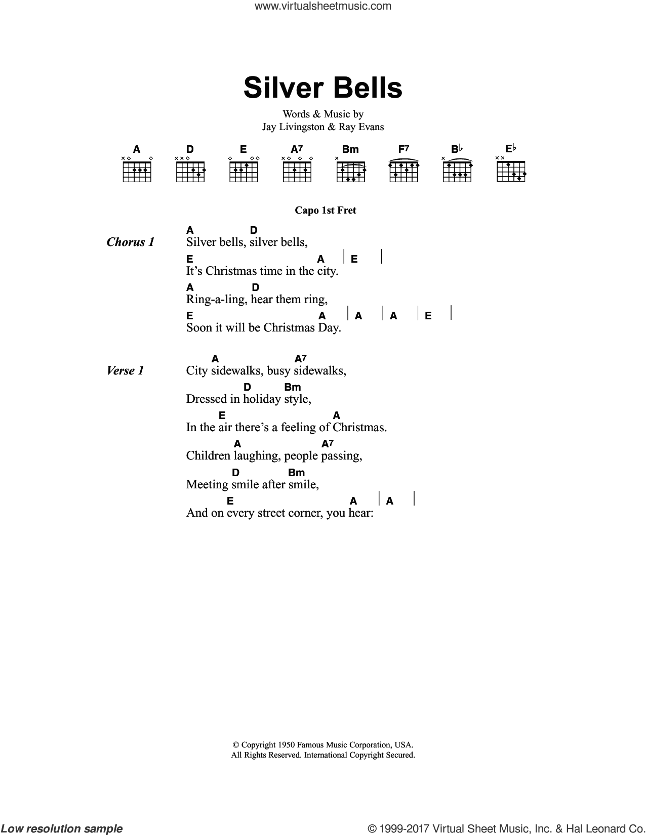 Silver Bells sheet music for guitar (chords) by Jay Livingston and Ray Evans, intermediate skill level