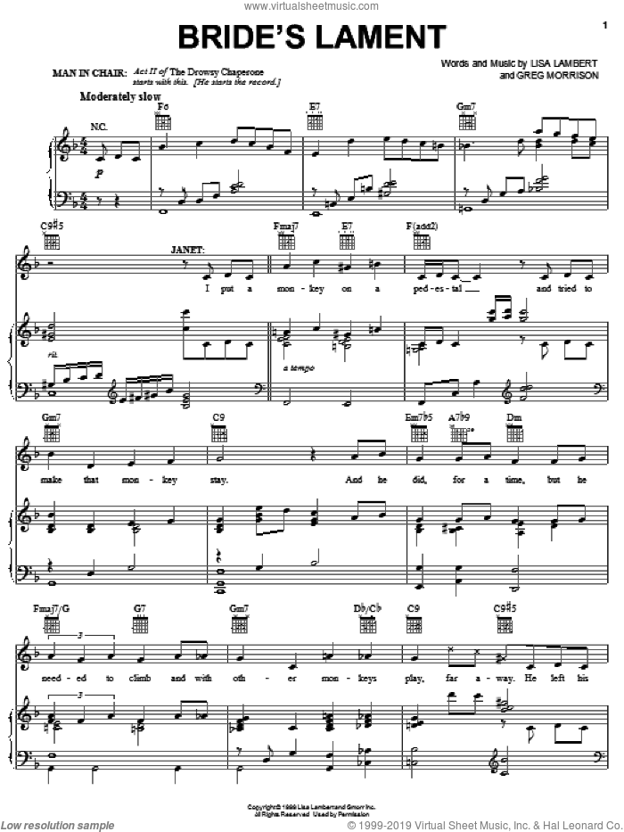 Bride's Lament sheet music for voice, piano or guitar by Lisa Lambert, Drowsy Chaperone (Musical) and Greg Morrison, intermediate. Score Image Preview.