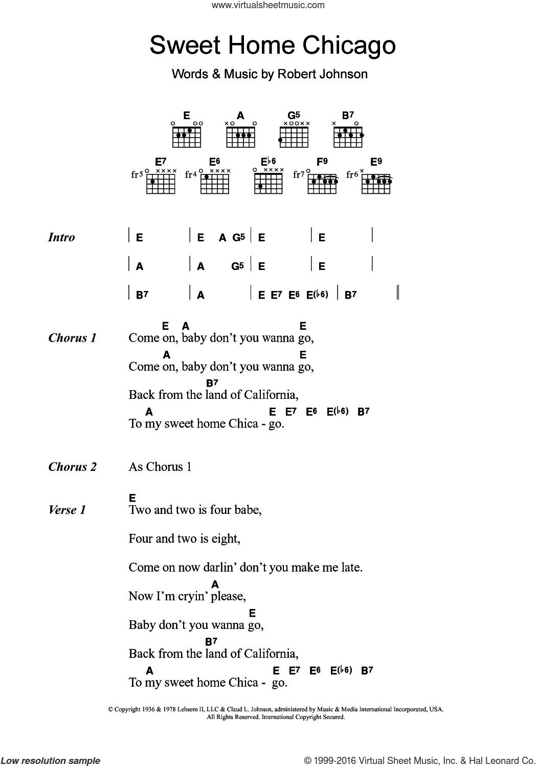 Sweet Home Chicago sheet music for guitar (chords) by Eric Clapton and Robert Johnson. Score Image Preview.