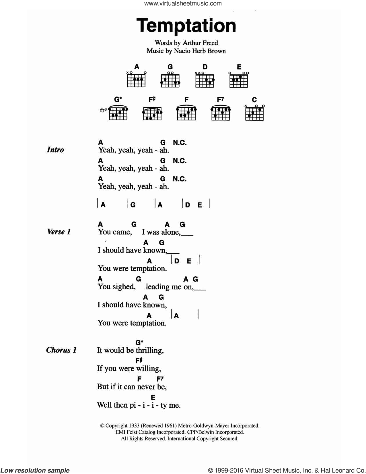 Temptation sheet music for guitar (chords) by The Everly Brothers, Arthur Freed and Nacio Herb Brown, intermediate skill level