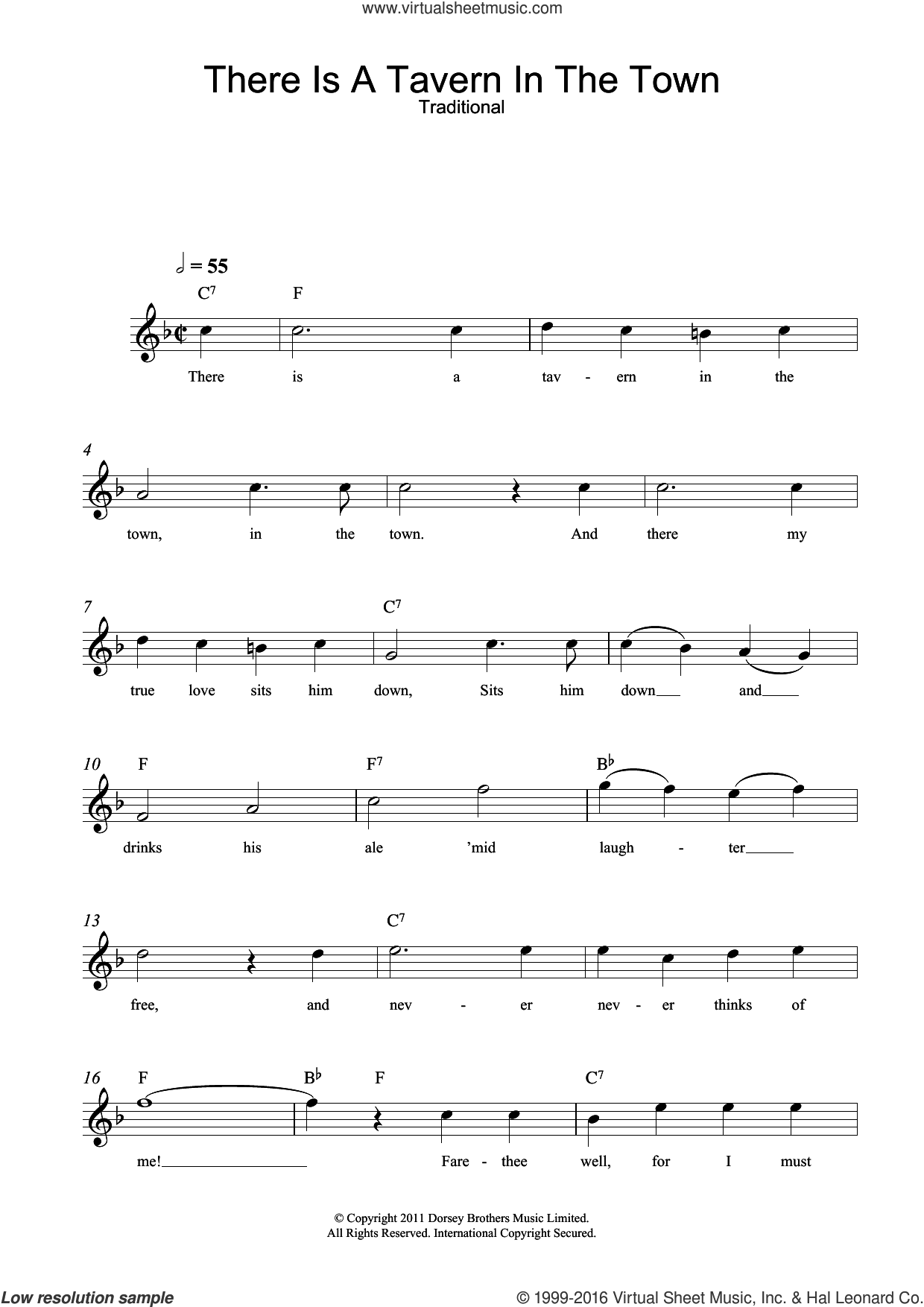 There Is A Tavern In The Town sheet music for voice and other instruments (fake book), intermediate voice. Score Image Preview.