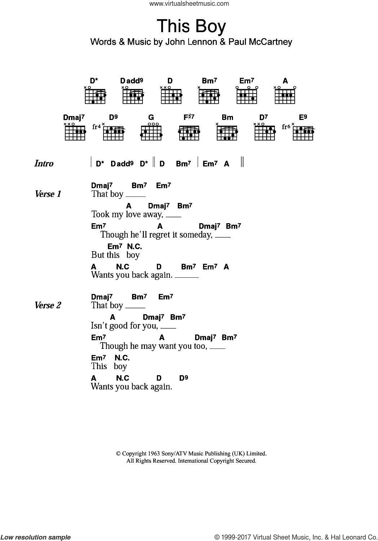 Beatles This Boy Ringos Theme Sheet Music For Guitar Chords