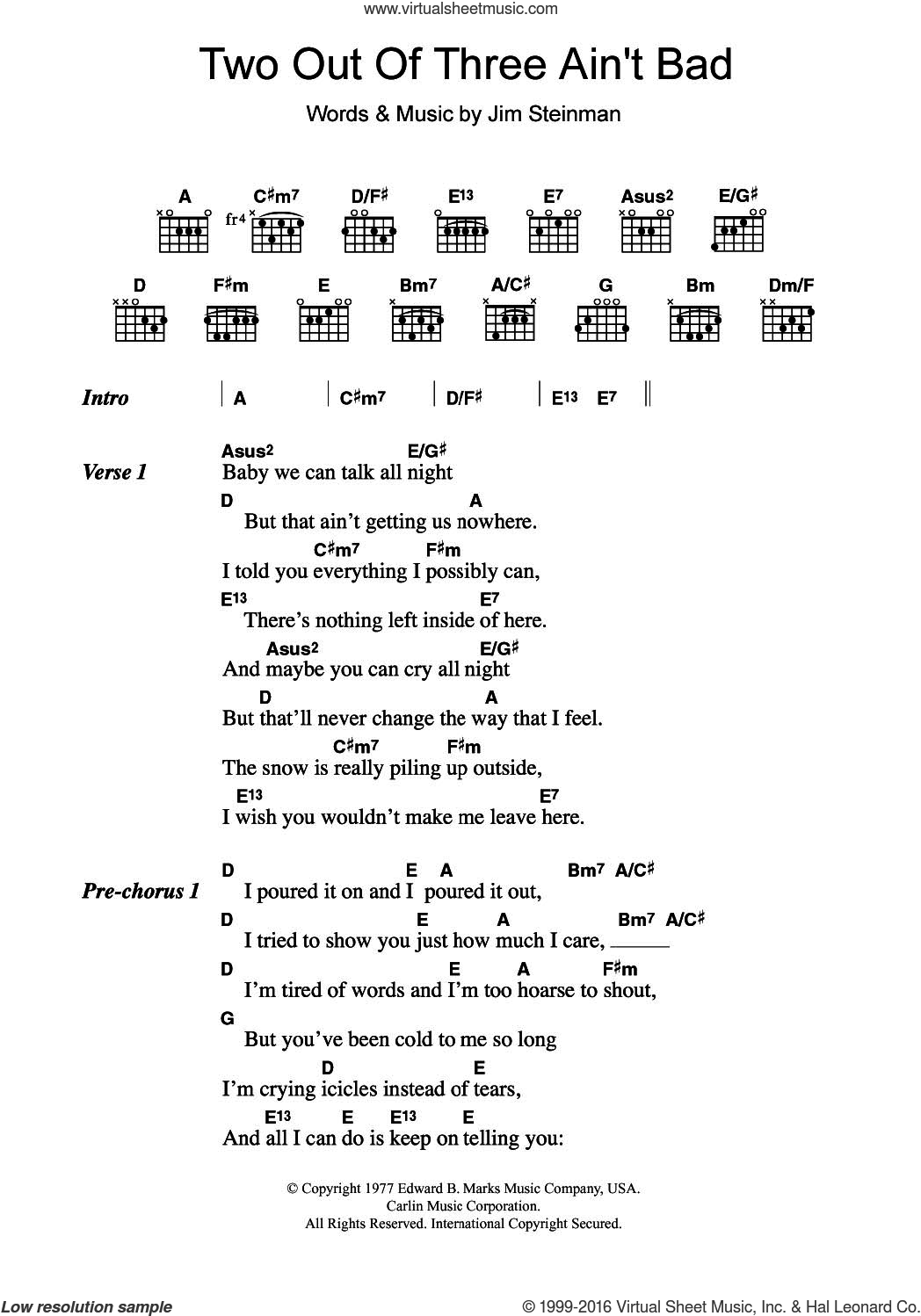 Two Out Of Three Ain't Bad sheet music for guitar (chords) by Meat Loaf and Jim Steinman, intermediate skill level