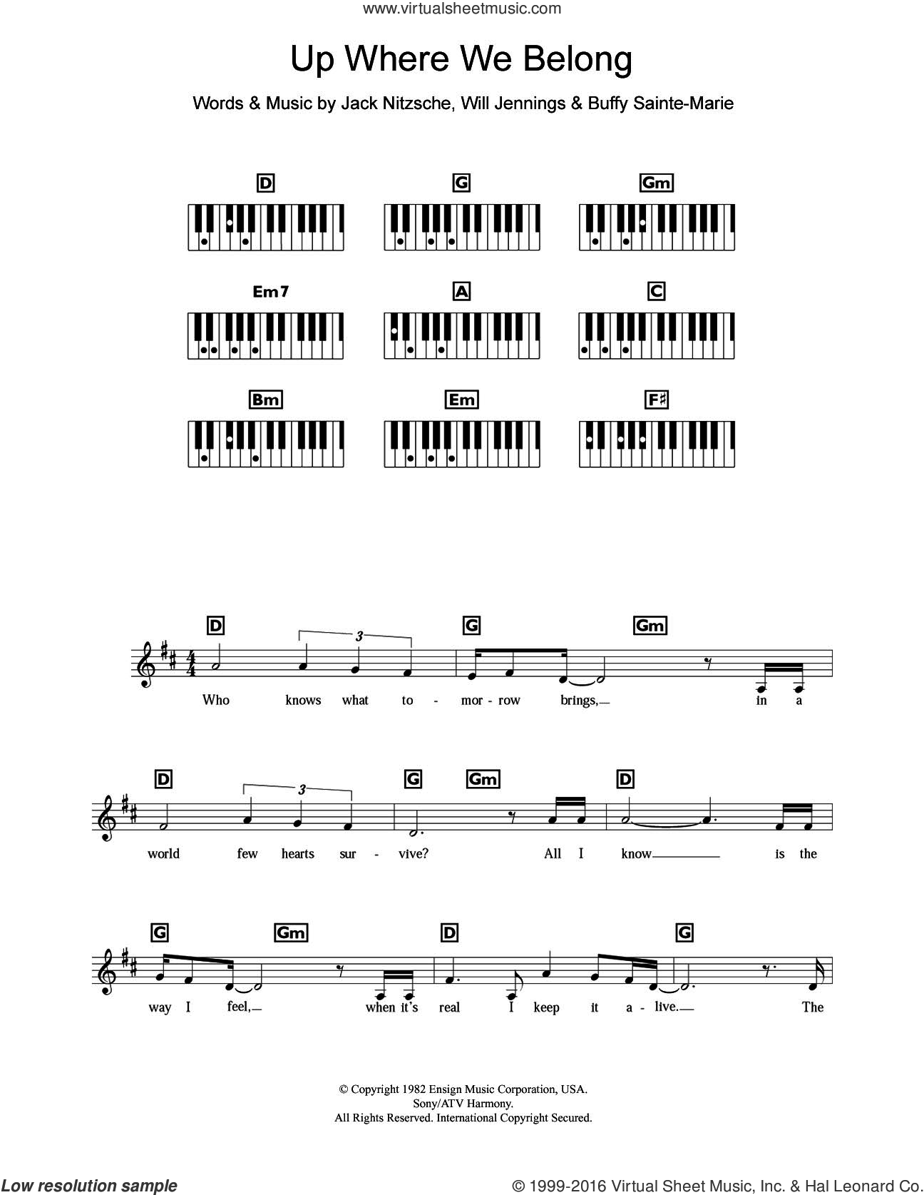 Up Where We Belong (from An Officer And A Gentleman) sheet music for piano solo (chords, lyrics, melody) by Will Jennings, Jennifer Warnes, Joe Cocker, Buffy Sainte-Marie and Jack Nitzsche. Score Image Preview.