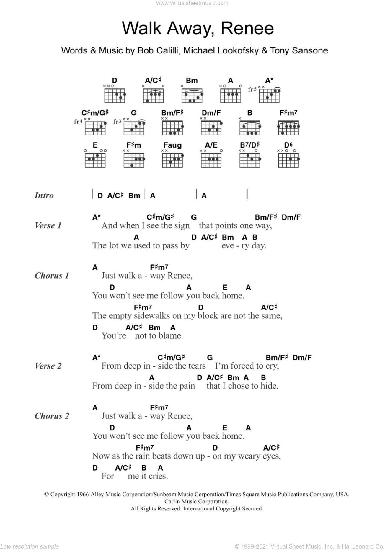 Walk Away, Renee sheet music for guitar (chords) by Tony Sansone, The Four Tops and Bob Calilli. Score Image Preview.