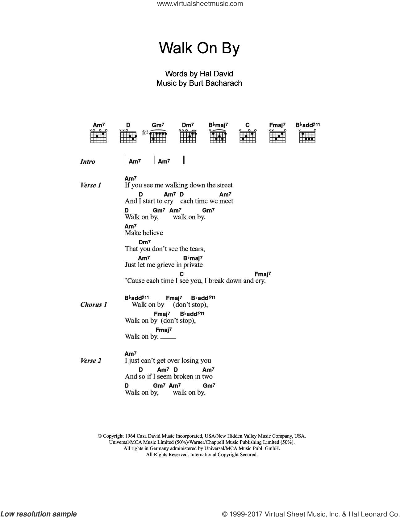 Warwick Walk On By Sheet Music For Guitar Chords Pdf