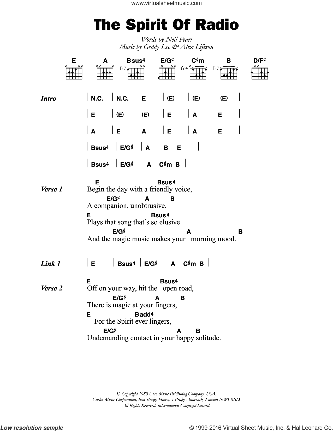 Rush The Spirit Of Radio Sheet Music For Guitar Chords Pdf