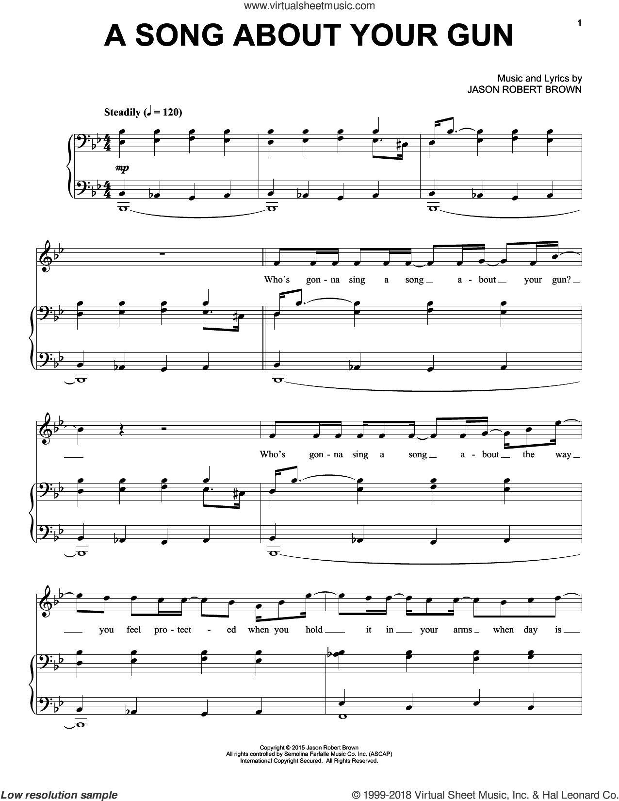 A Song About Your Gun sheet music for voice and piano by Jason Robert Brown, intermediate skill level