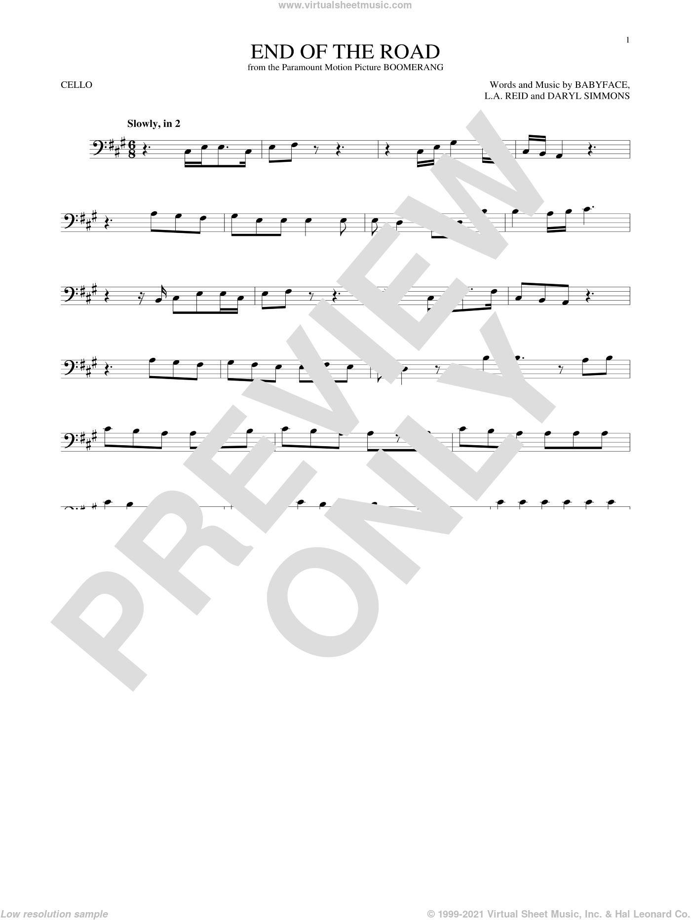 End Of The Road sheet music for cello solo by Boyz II Men, Babyface, Daryl Simmons and L.A. Reid, intermediate skill level