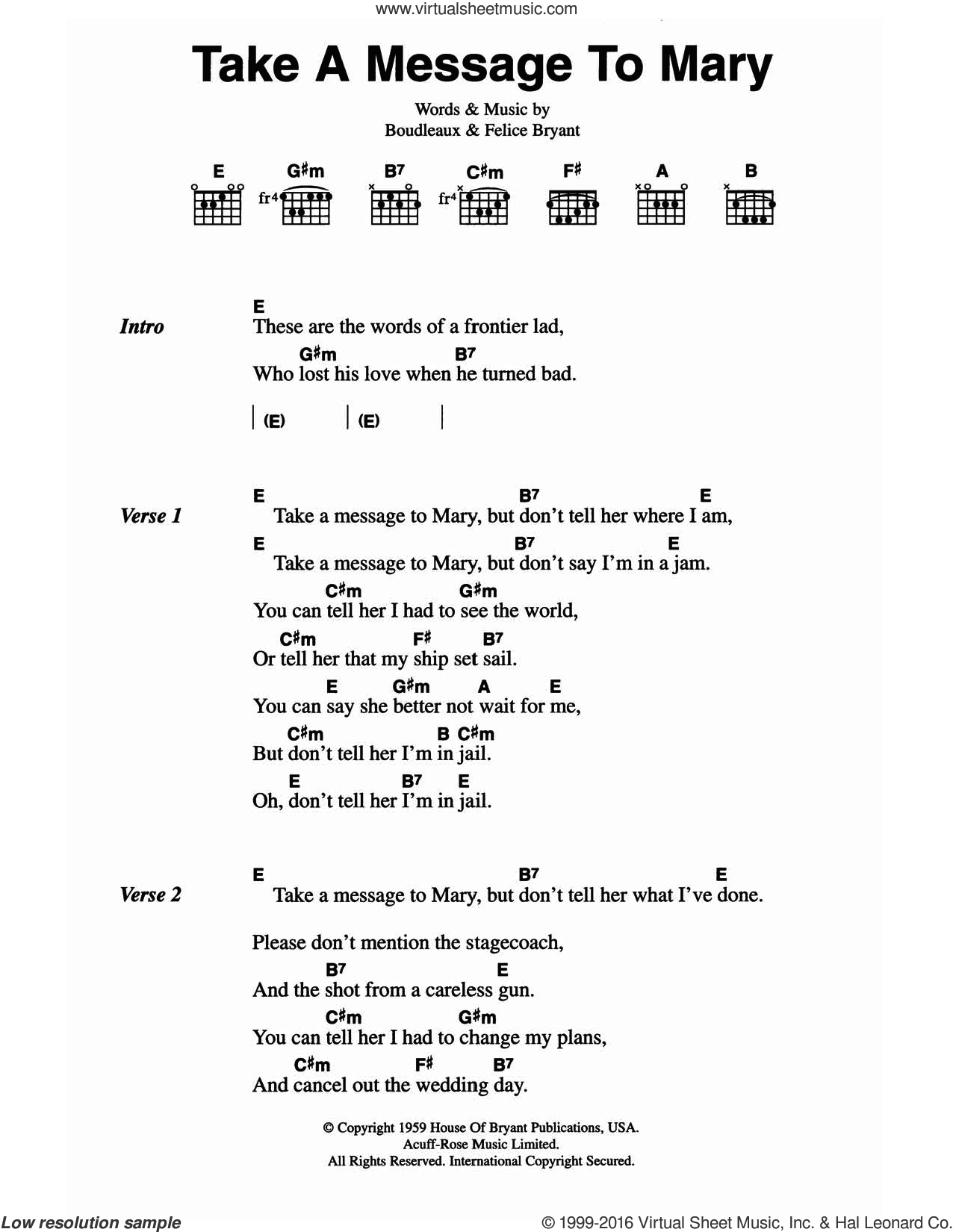Take A Message To Mary sheet music for guitar (chords) by The Everly Brothers, Boudleaux Bryant and Felice Bryant, intermediate. Score Image Preview.