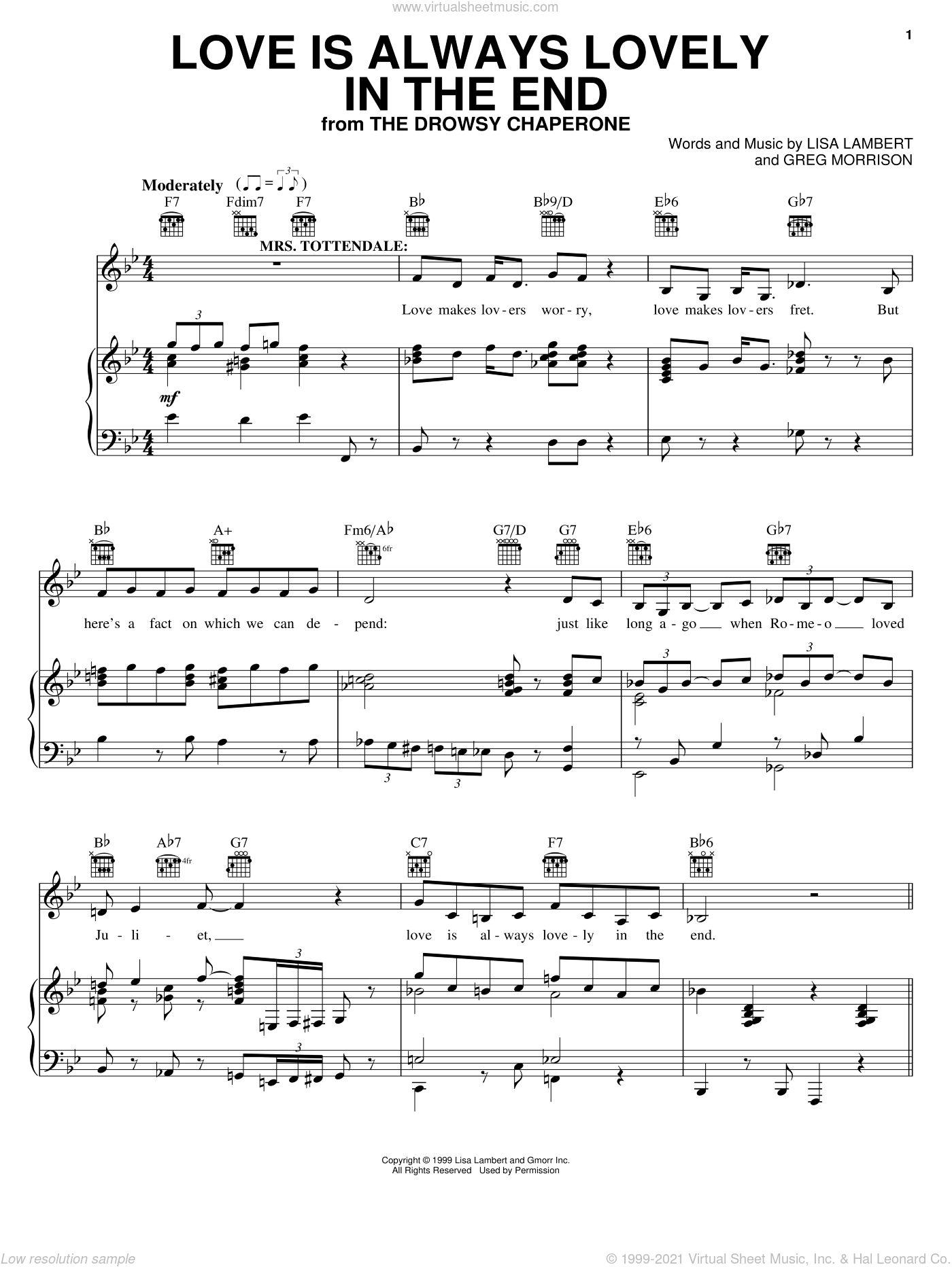 Love Is Always Lovely In The End sheet music for voice, piano or guitar by Greg Morrison and Lisa Lambert. Score Image Preview.