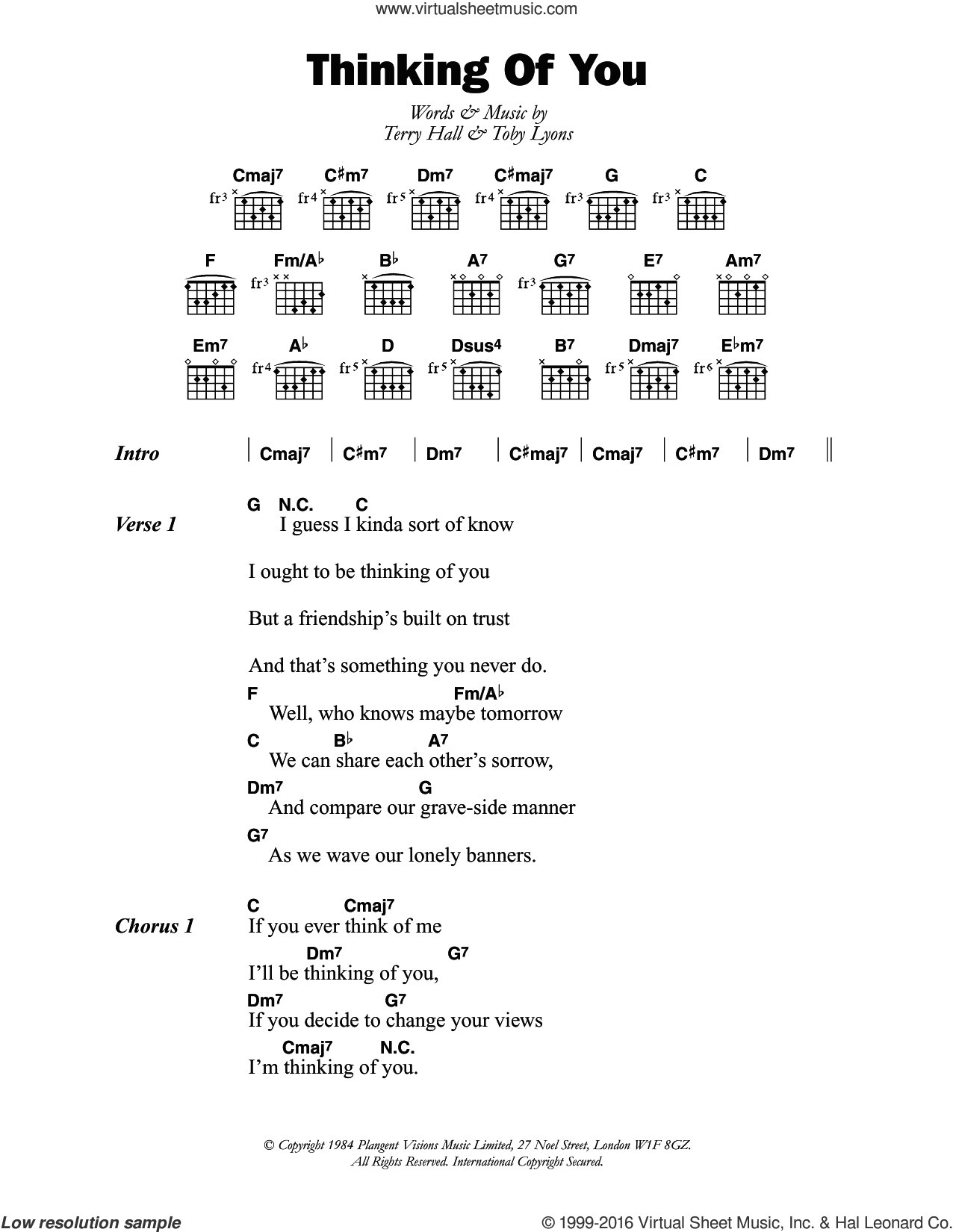 Thinking Of You sheet music for guitar (chords) by The Colourfield, Terry Hall and Toby Lyons, intermediate skill level