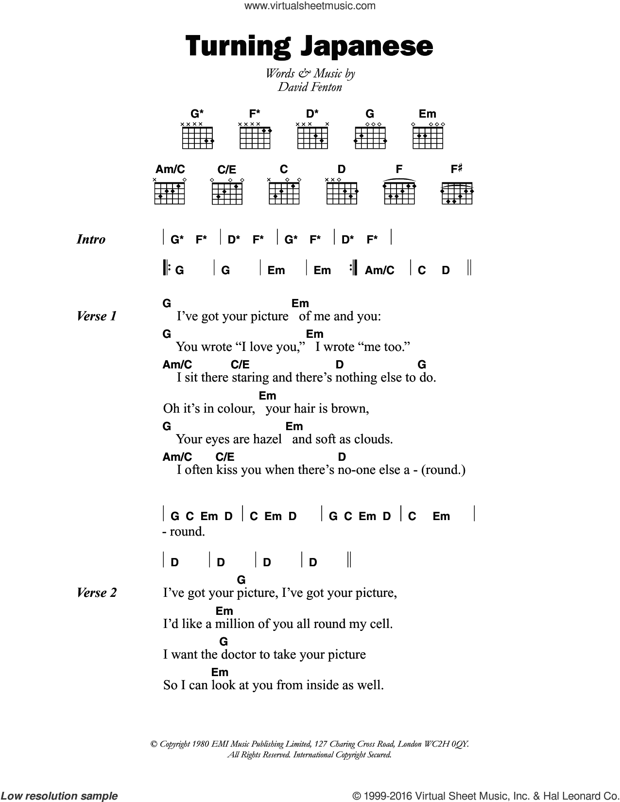 Turning Japanese sheet music for guitar (chords) by The Vapors and David Fenton, intermediate skill level
