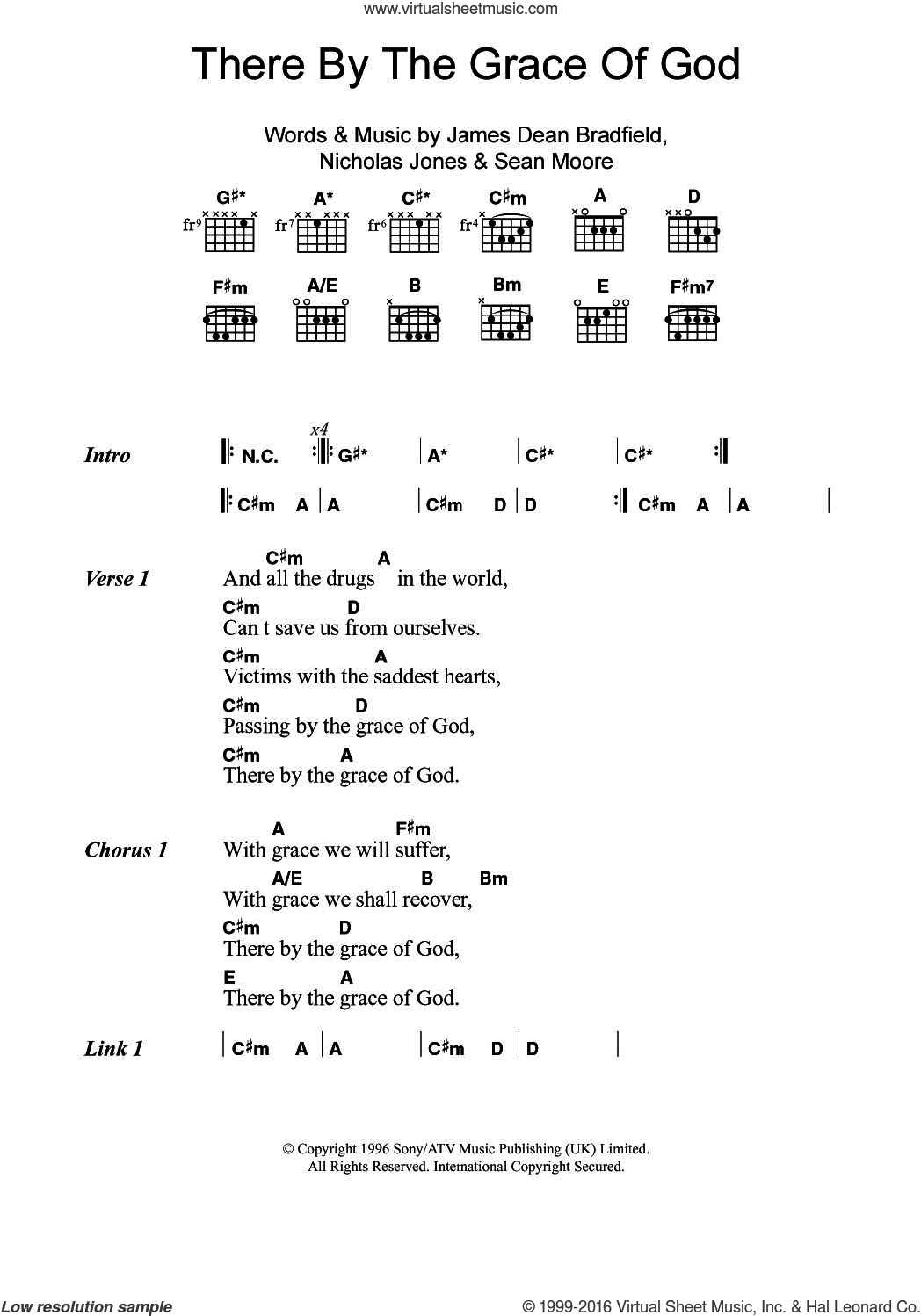There By The Grace Of God sheet music for guitar (chords) by Manic Street Preachers, James Dean Bradfield, Nick Jones and Sean Moore, intermediate. Score Image Preview.