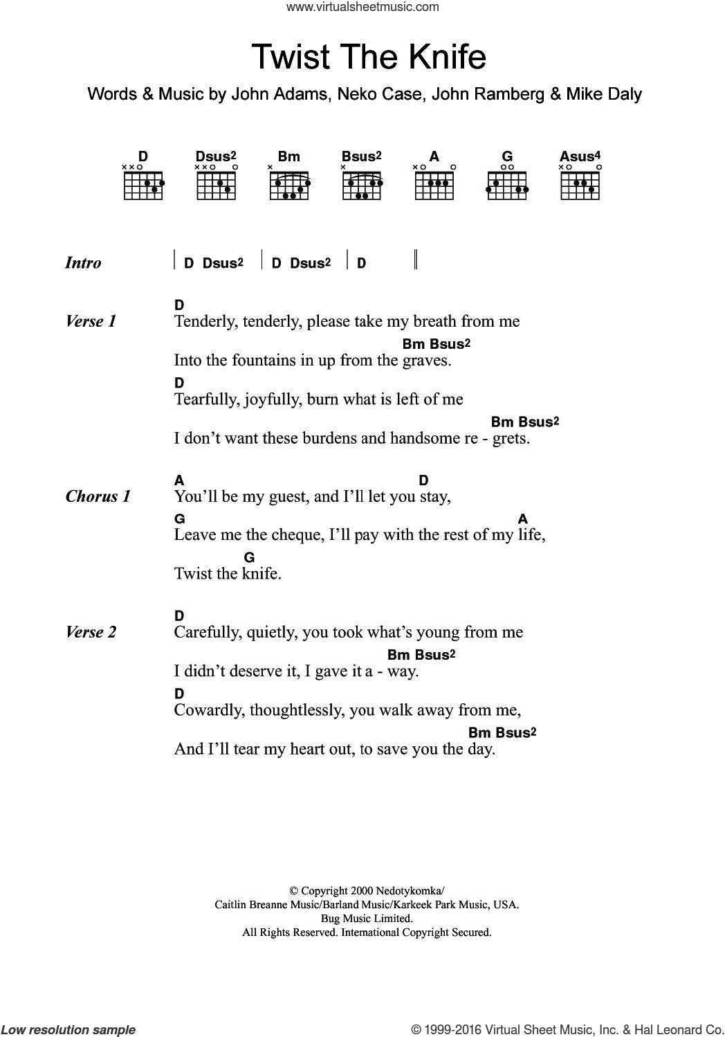 Twist The Knife sheet music for guitar (chords) by Neko Case & Her Boyfriends, John Adams, John Ramberg, Mike Daly and Neko Case, intermediate skill level