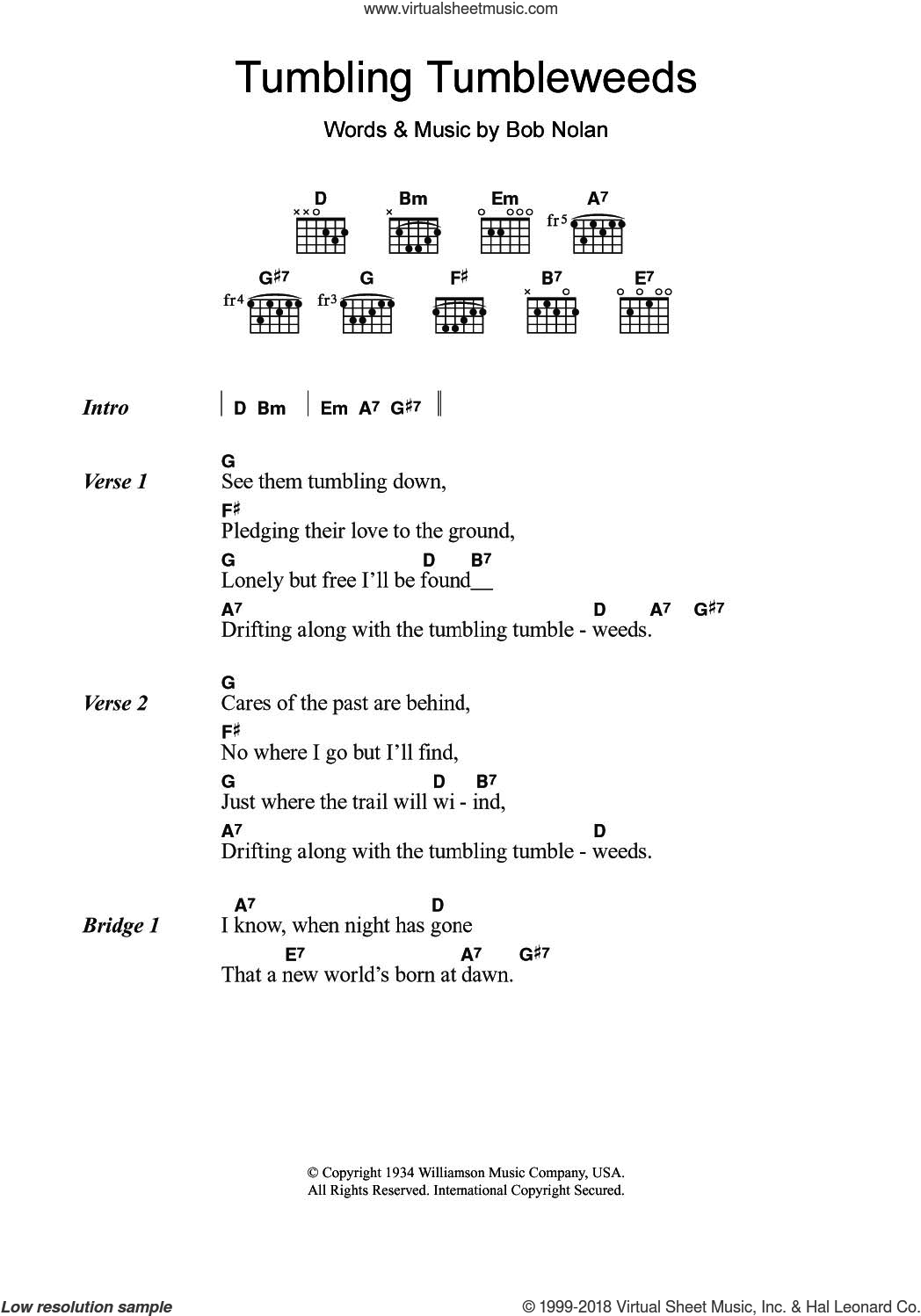 Tumbling Tumbleweeds sheet music for guitar (chords) by Sons Of The Pioneers and Bob Nolan, intermediate skill level