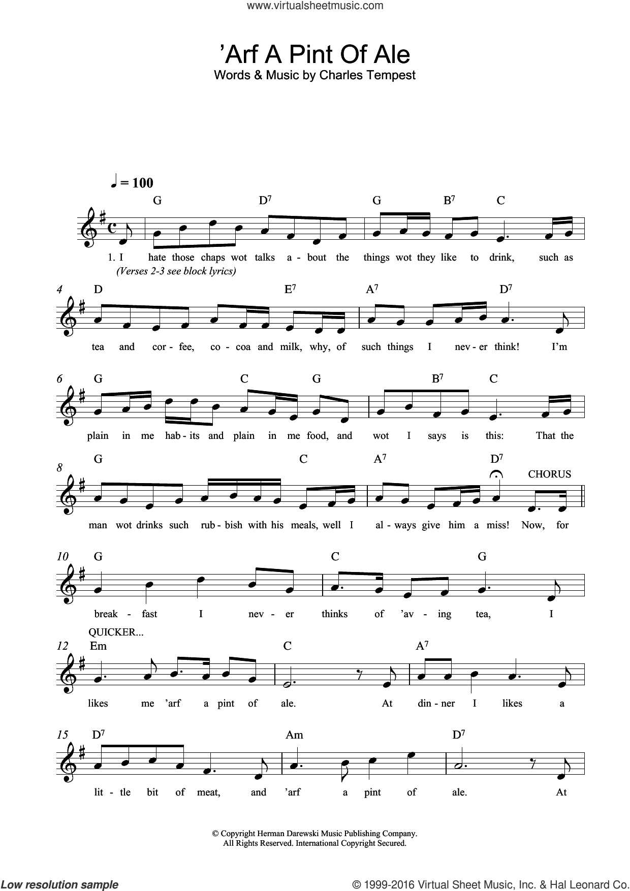 'Arf A Pint Of Ale sheet music for voice and other instruments (fake book) by Charles Tempest. Score Image Preview.