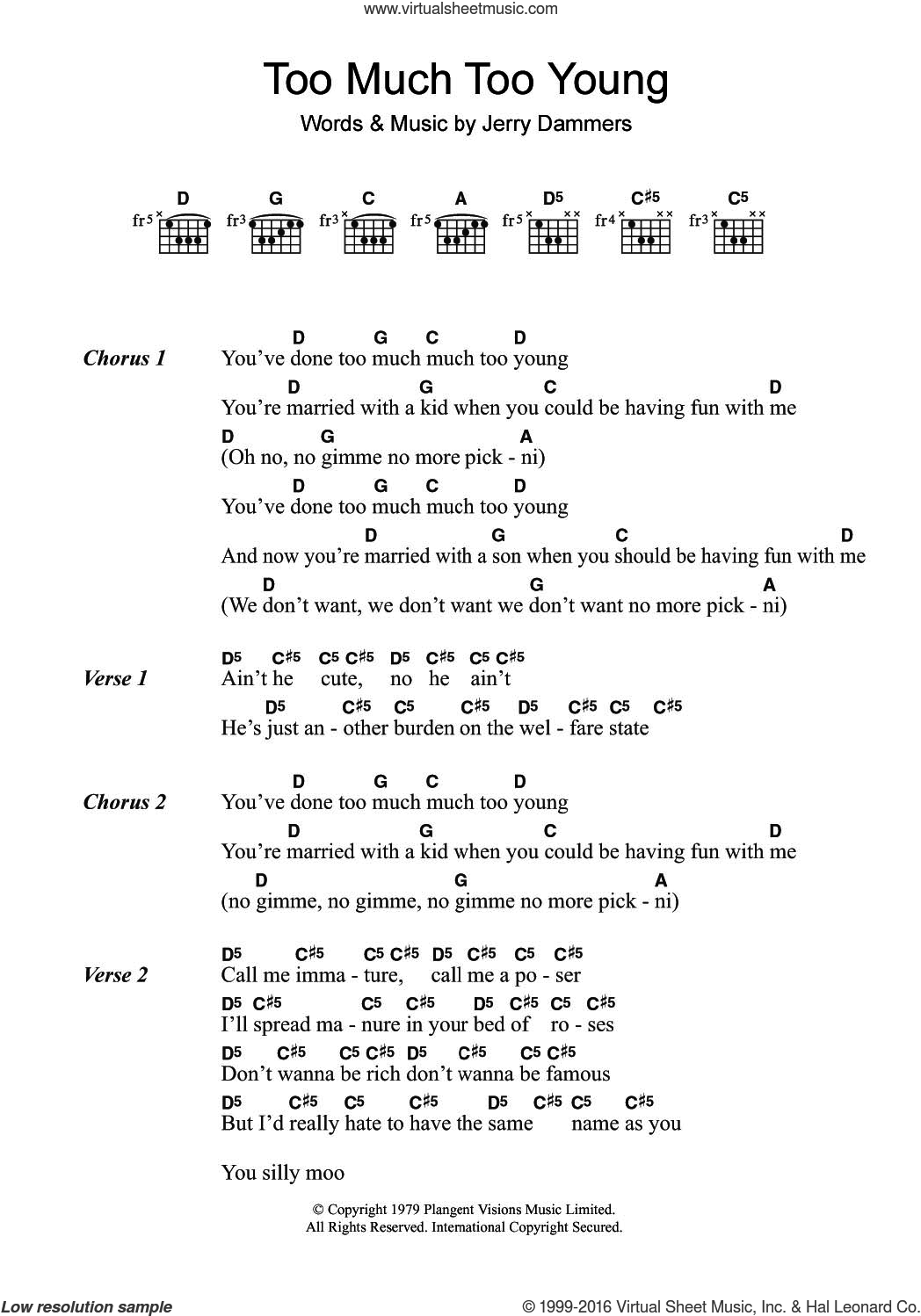 Too Much Too Young sheet music for guitar (chords) by The Specials and Jerry Dammers, intermediate skill level