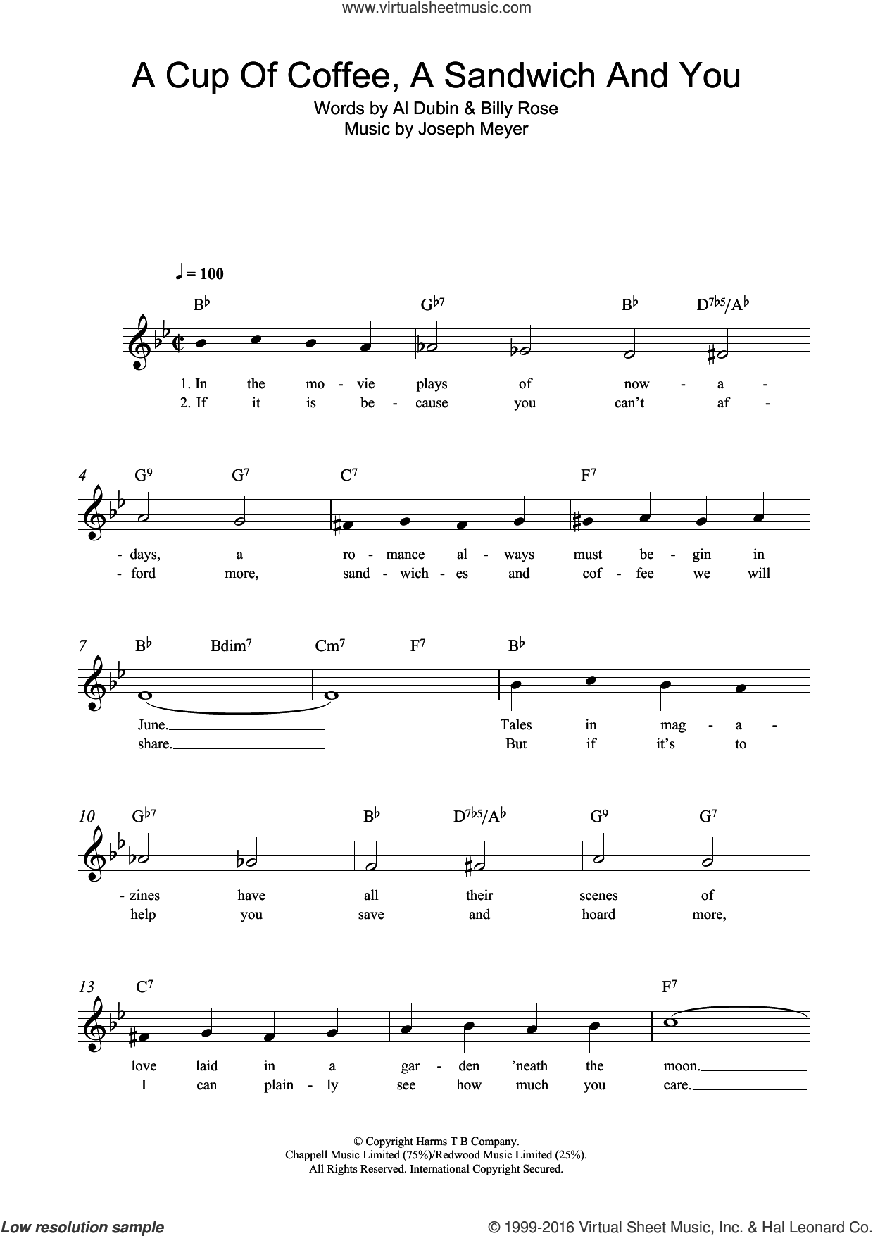 A Cup Of Coffee, A Sandwich And You sheet music for voice and other instruments (fake book) by Billy Rose, Al Dubin and Joseph Meyer. Score Image Preview.