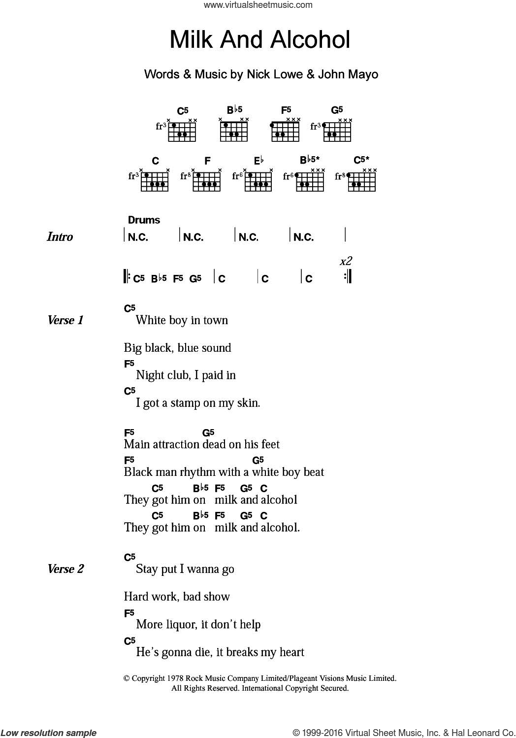 Milk And Alcohol sheet music for guitar (chords) by Dr. Feelgood, John Mayo and Nick Lowe, intermediate skill level