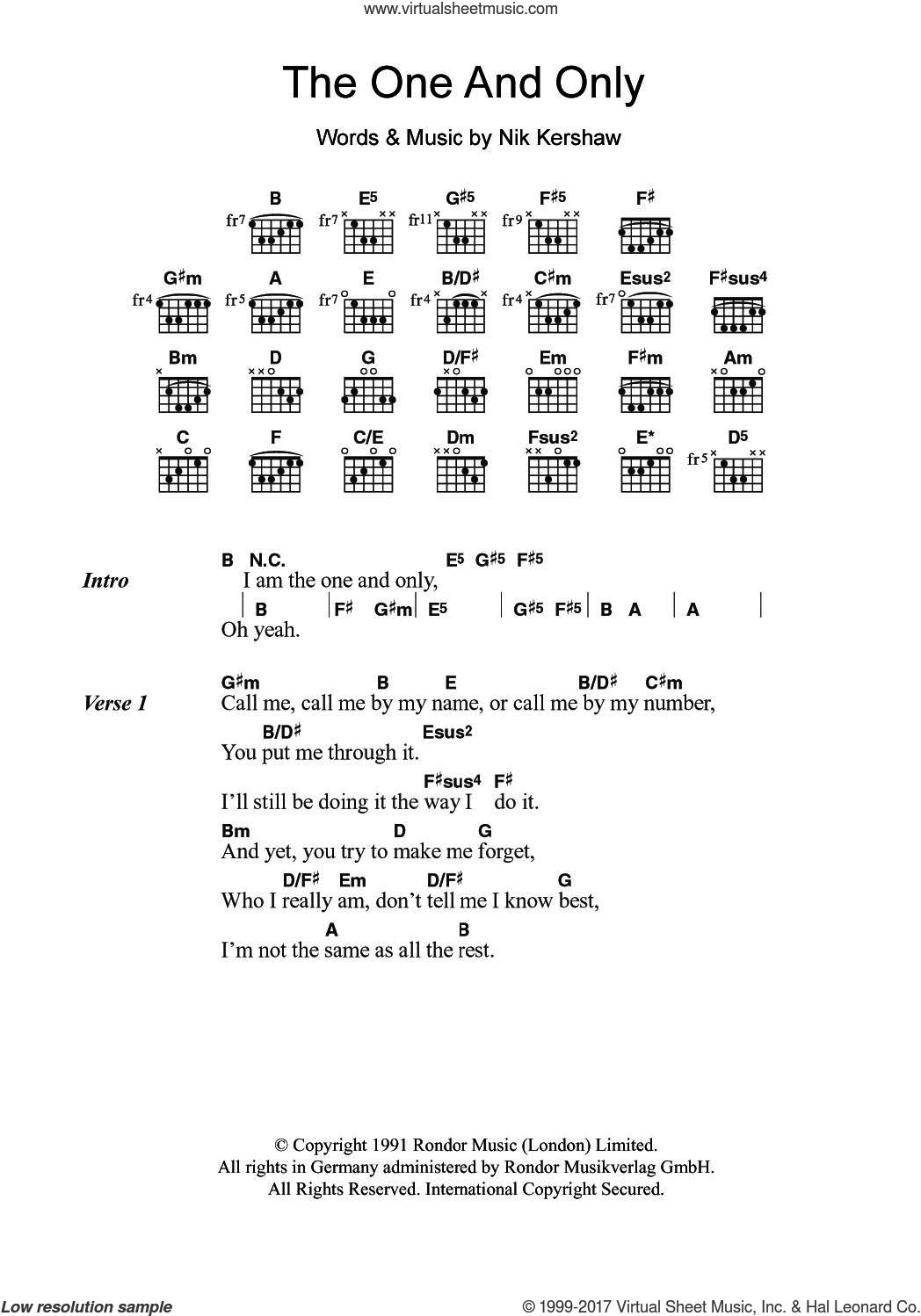 The One And Only sheet music for guitar (chords) by Chesney Hawkes and Nik Kershaw, intermediate skill level