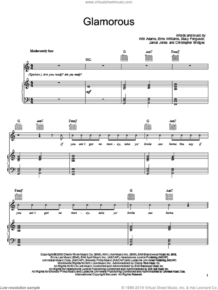 Glamorous sheet music for voice, piano or guitar by Fergie featuring Ludacris, Fergie, Ludacris, Christopher Bridges, Elvis Williams, Jamal Jones, Stacy Ferguson and Will Adams, intermediate skill level