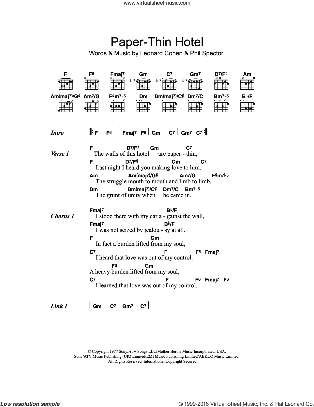 Paper-Thin Hotel sheet music for guitar (chords) by Phil Spector and Leonard Cohen. Score Image Preview.