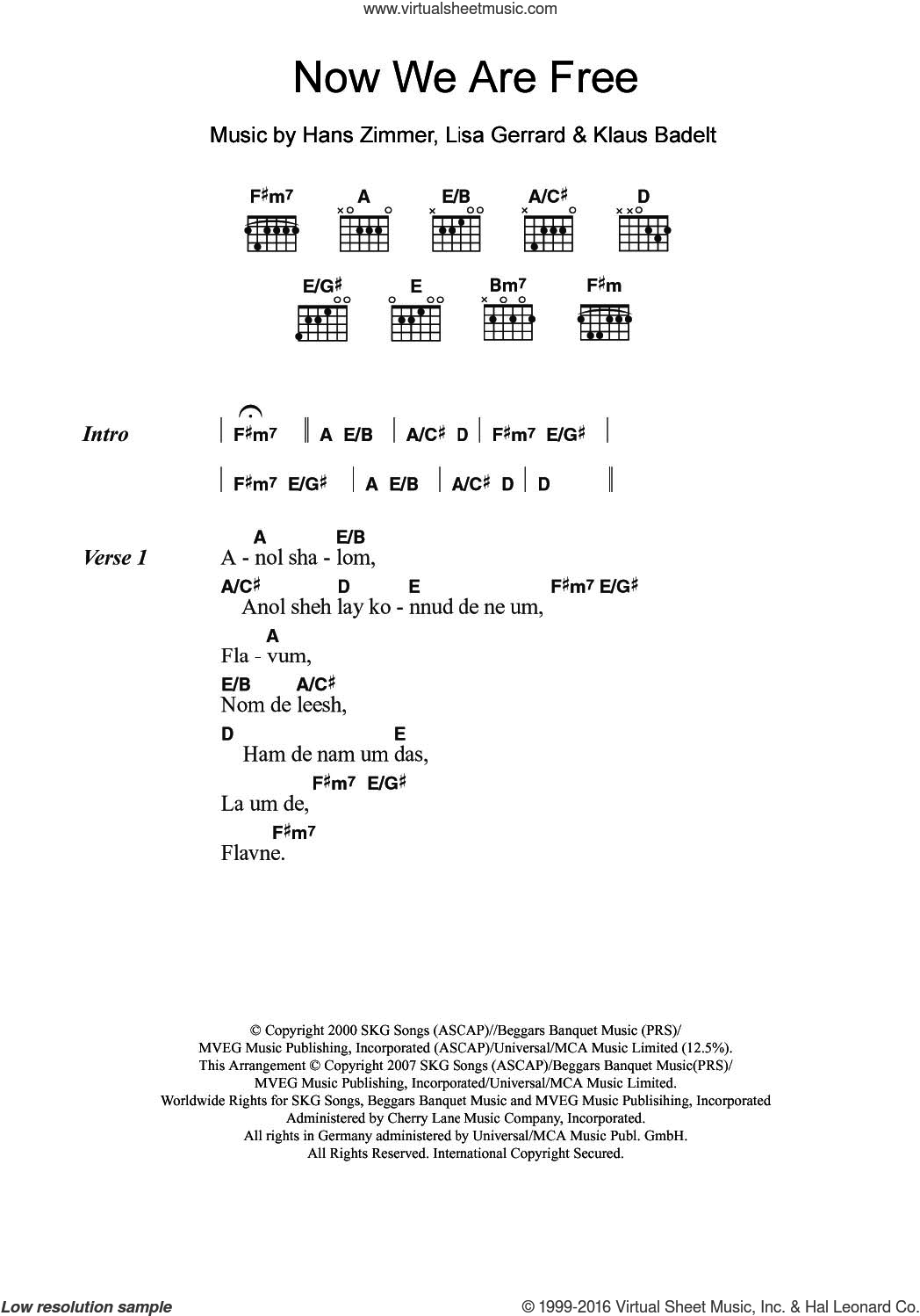 Now We Are Free (from Gladiator) sheet music for guitar (chords) by Lisa Gerrard, Hans Zimmer and Klaus Badelt, intermediate. Score Image Preview.