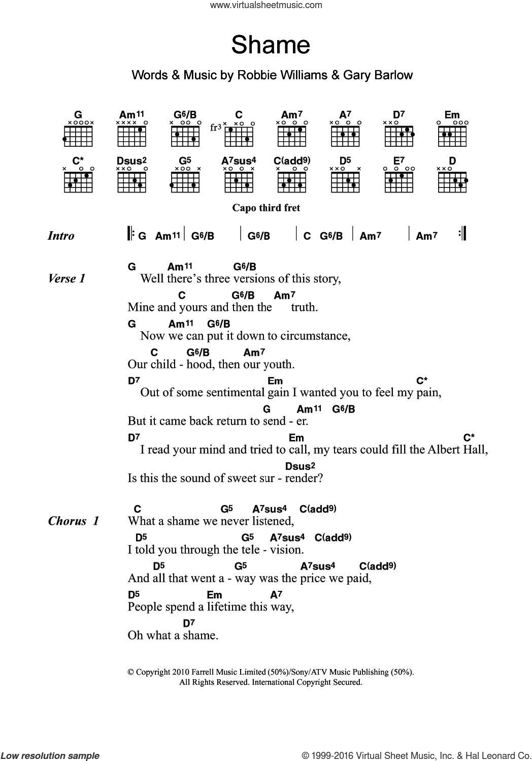Shame sheet music for guitar (chords) by Gary Barlow and Robbie Williams. Score Image Preview.