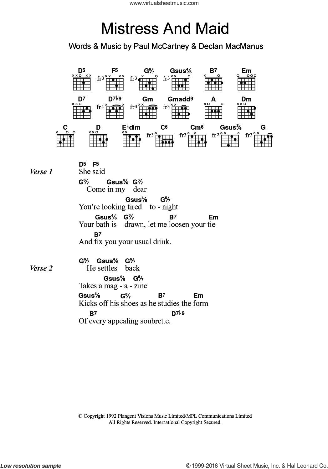 Mistress And Maid sheet music for guitar (chords) by Paul McCartney and Declan Macmanus, intermediate skill level