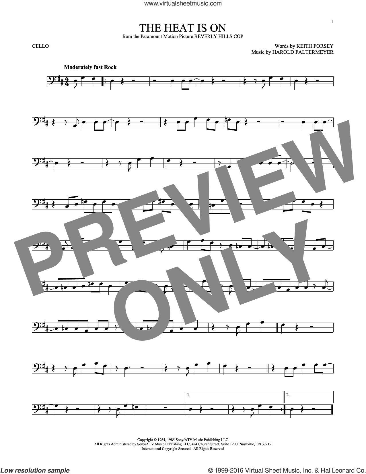 The Heat Is On sheet music for cello solo by Glenn Frey, Harold Faltermeyer and Keith Forsey, intermediate cello. Score Image Preview.