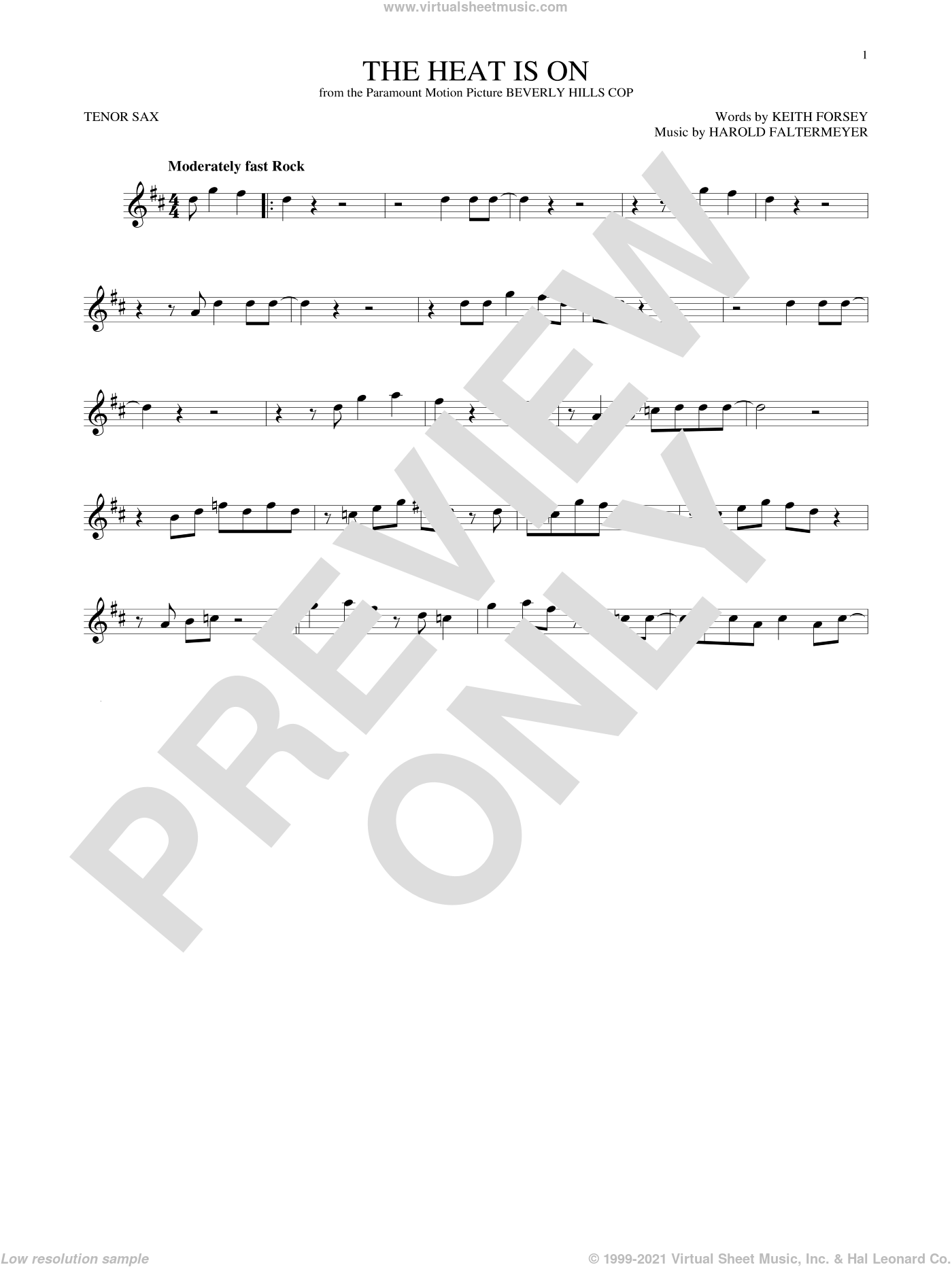 The Heat Is On sheet music for tenor saxophone solo by Glenn Frey, Harold Faltermeyer and Keith Forsey, intermediate skill level